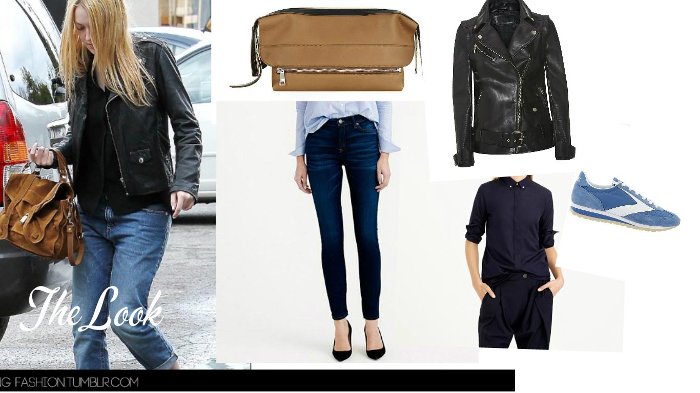 The Look: Dakota Fanning wearing  Proenza Schouler PS1 satchel . Clutch: Chloe, Jacket: Karl Lagerfeld, Snickers: Brooks, Jeans: J.Crew, Shirt:  J.Crew