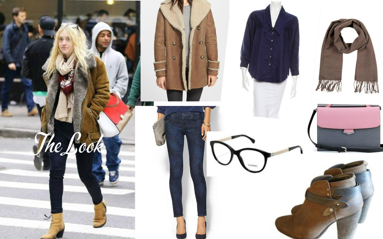 The Look: Dakota Fanning. Jacket: Burbery Brit, Blouse: Zac Posen, Scarf: YSL, Bag:  Fendi,  Eyewear: Chanel, Jeans: AG Adriano Goldschmied, Booties: Rag & Bone.