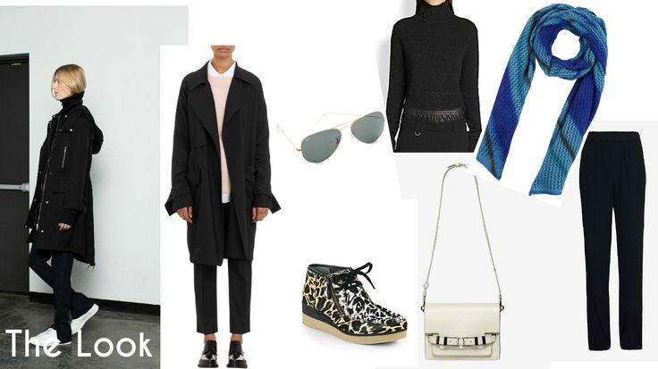 The Look: A.L.C FW 2014 Ready to Wear Collection. Coat: A.L.C,  Eyewear :  Ray-Ban , Turtleneck:  A.L.C , Scarf: GPBlue, Pants:  A.L.C , Bag:  A.L.C , Shoes:  Derek Lam 10 Crosby .