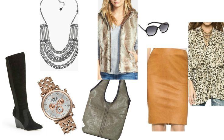 Necklace:  Sam Edelman , Vest:  Stella+Lorenzo , Sunglasses:  Saint Laurent , Blouse:  Spell , Skirt:  Sally La Pointe , Bag:  Sanctuary , Watch:  Shinola , Boots:  Raport .