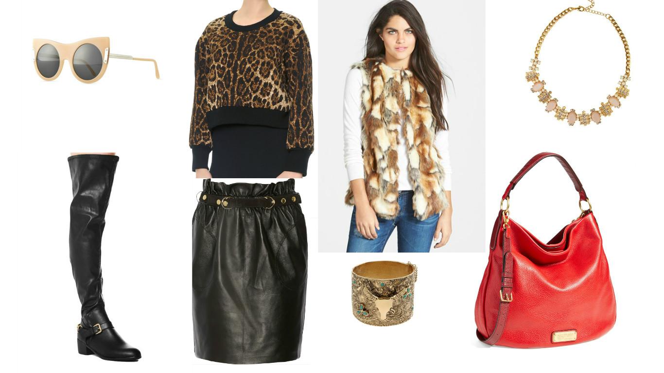 Sunglasses: Stella McCartney, Top: Dolce & Gabbana, Vest: Sam Edelman, Necklace: Jewel Box Station, Bag: Marc by Marc Jackobs, Bracelet:  Anndra Neen , Skirt: Adam Lippes, Boots: AKIRA