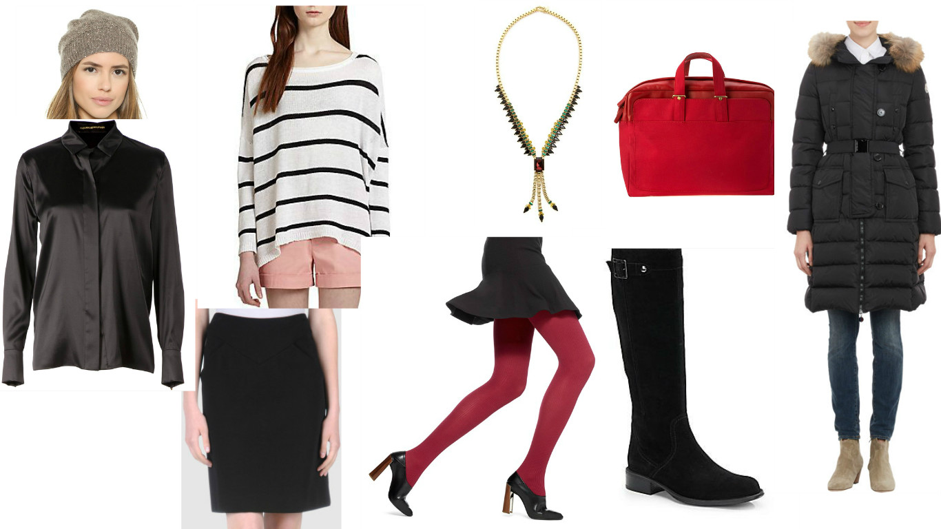 Hat: Alice+Olivia, Sweater:  Alice+Olivia , Necklace: Elizabeth Cole, Briefcase: Hearfest, Coat: Moncler,  Boots : Aquatalia by Marvin K, Tights:  Hue , Skirt: Alexis Mabille, Shirt: Alexandre Vauthier