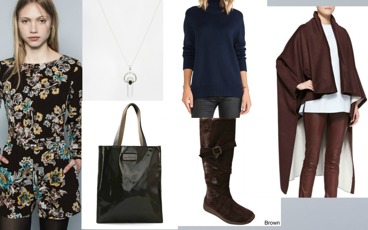 Necklace: Adara: Turtleneck: Aquaverde, Reversible Cape:  Adam Lippes , Boots: Adi Designs, Tote: Addidas by Stella McCartney