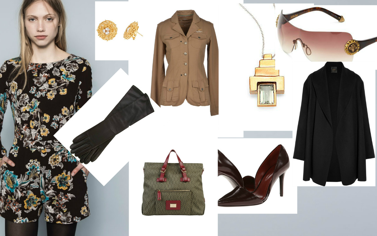 Earrings: Agrigrento, Blazer: Aeronutika Military, Necklace: Aesa, Sunglasses: Affliction, Coat:  Agnona , Shoes: Aerin, Bag: Aigner, Gloves: Agnelle