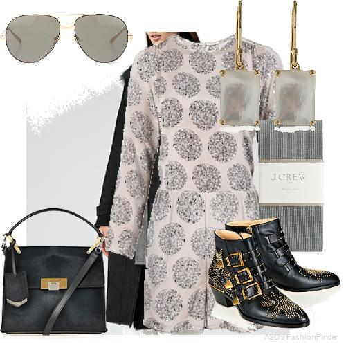 Sunglasses: Linda Farrow, Coat: Reiss, Romper: Sea NY, Earrings: Ippolita, Tights: J.Crew, Boots:  Chloe , Bag: Balenciaga