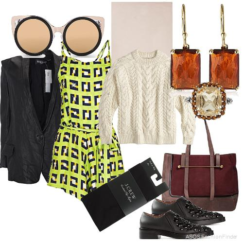 Blazer: Balmain, Sunglasses: Erdem, Romper: Again, Scarf: Faliero Salti, Earrings: Ippolita, Ring: Stephen Dweck, Sweater:  J.Crew , Tights: J.Crew, Bag: Rupert Sanderson, Shoes: Marni
