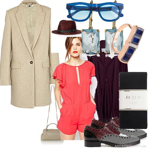 Coat: Stella McCartney, Hat: Rag&Bone, Sunglasses: J.Crew, Earrings: Ippolita, Ring: Monica Vinader, Cardigan: Maison Martin Margiela, Romper: BCBGMaxAzaria, Bag:  The Row , Shoes: Alexander Wang, Tights: J.Crew
