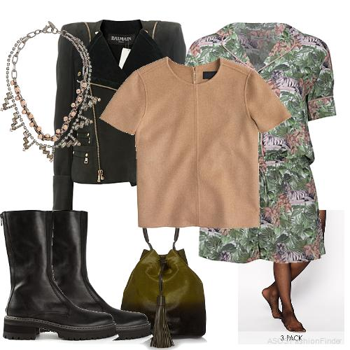 Necklace: Joomi Lim, Jacket:  Balmain , Cashmere Tee: J.Crew, Romper: Emma Cook, Pantyhose:  Wolford , Bag: Anya Hindmarch, Boots: ANN DEMEULEMEESTER