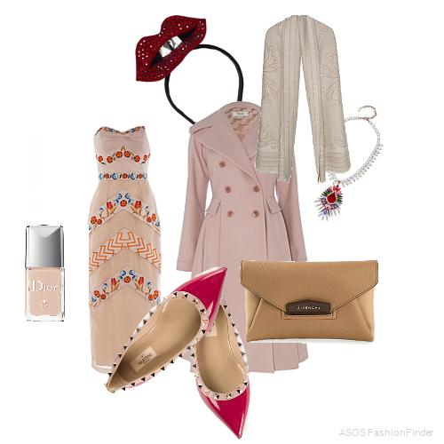 Nail Polish: Dior, Dress:  Temperley London , Headband: Benoit Missolin, Coat:  Temperely London , Scarf: Temperley London, Necklace: Dannijo, Clutch: Givenchy, Shoes: Valentino Garavani