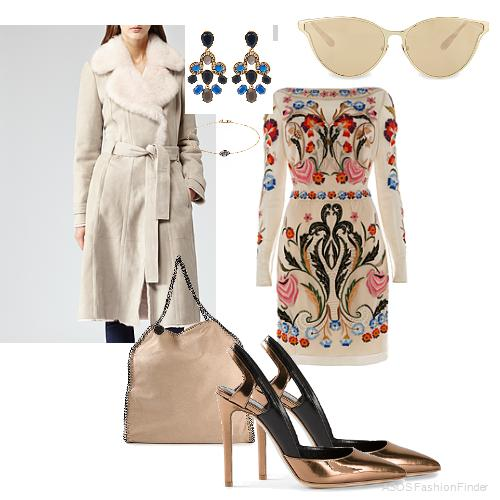 Coat: Reiss, Earrings: Oscar de la Renta, Sunglasses: Linda Farrow, Dress:  Temperley London , Bracelet:  Annoushka , Bag: Stella McCartney, Shoes: Alejandro Ingelmo