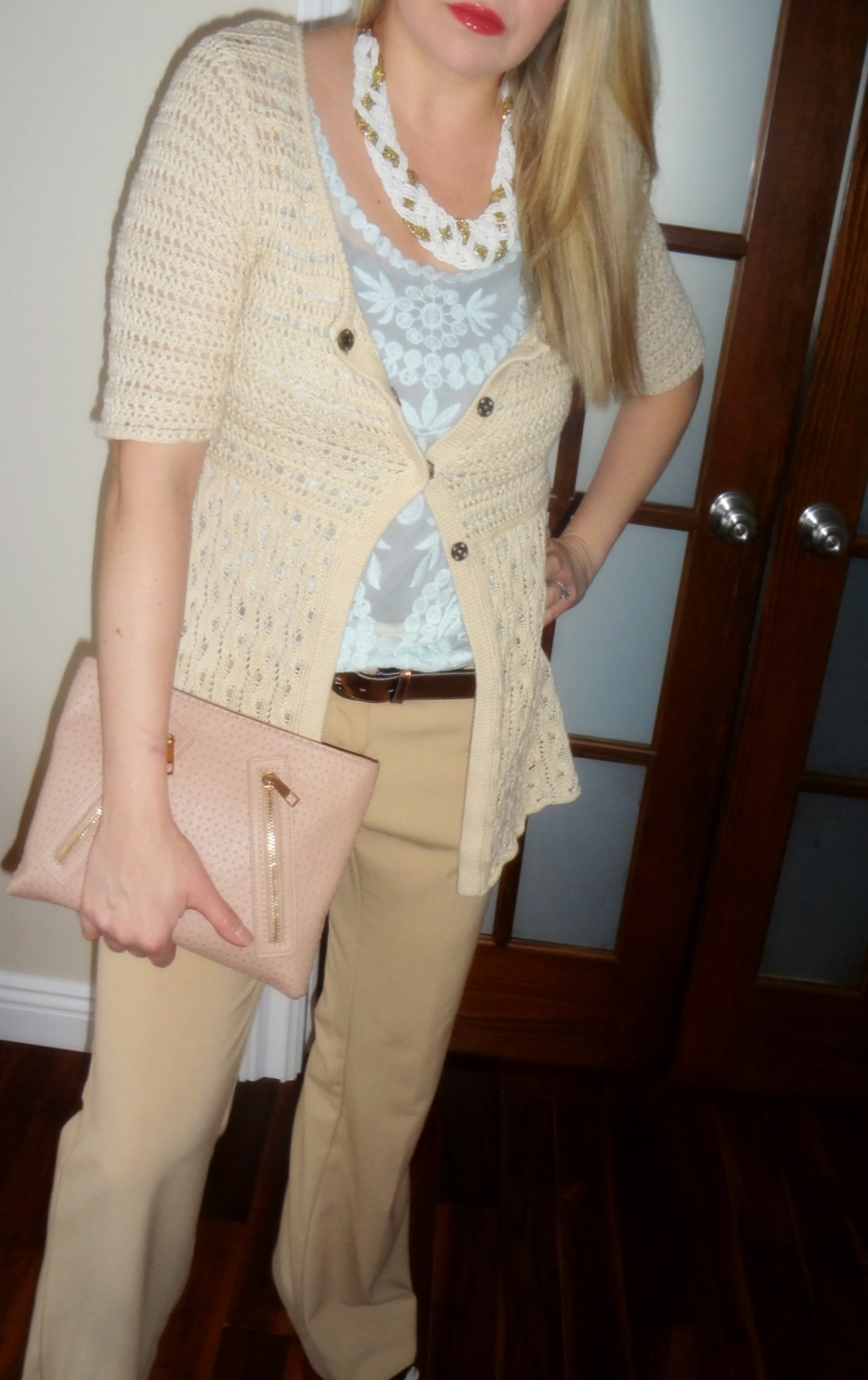 Coat: H&M, Scarf: H&M, Necklace: Aldo, Top: H&M, Cardigan: Nine West, Belt: ASOS, Pants: The Limited, Shoes: Steve Madden, Clutch: ASOS