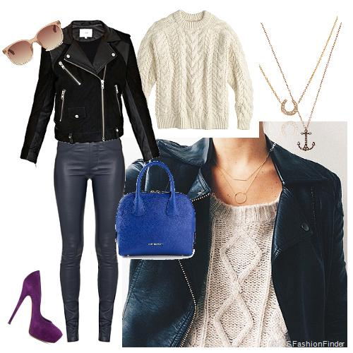 Necklaces: Annoushka, Sweater:  JCrew , Bag: Burberry, Pants: Helmut Lang, Jacket:  IRO,  Sunglasses: Linda Farrow, Shoes: CASADEI