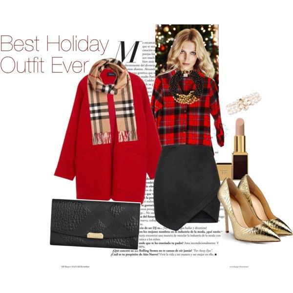 Shirt:  Mickey's Girl , Coat:  Derek Lam , Skirt: Topshop, Shoes: Giuseppe Zanotti, Clutch: Burberry, Necklace: Kenneth Jay, Scarf: Burberry, Lipstick: Tom Fortd, Bracelet: Akoya