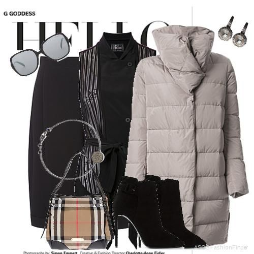 This outfit was inspired by Black Pleat Crepe Tuxedo Shorts MCQ BY  ALEXANDER MCQUEEN . Bracelet: Astley Clarke, Tote: Burberry London, Jacket: MONCLER, Earrings: Stephen Dweck, Sunglasses: TIFFANY, Boots: GIUSEPPE ZANOTTI DESIGN, Tank Top: LOST AND FOUND.