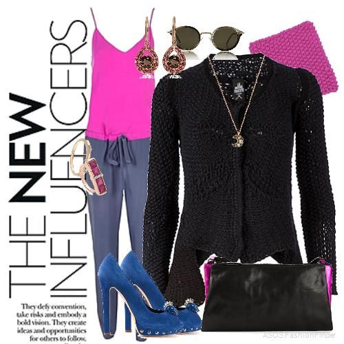 Inspired by asymmetric knit sweater by  Le Moine Tricote , Pumps: ALEXANDER MCQUEEN, Clutch: ANN DEMEULEMEESTER, Necklace: Annoushka, Sunglasses: Celine, Earrings: Dinny Hall, Rings: Kismet and Monica Vinader, Jumpsuit: MASON BY MICHELLE MASON, Knitwear Neck Piece: Wool and the Gang.