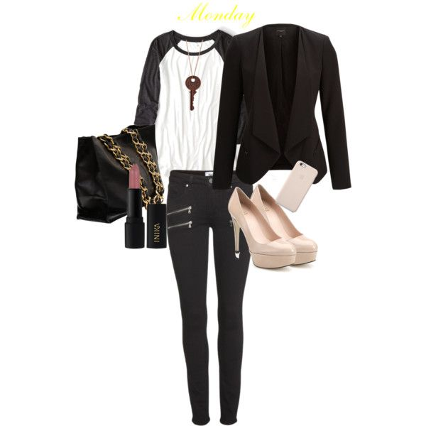 T-Shirt:  American Eagle , Blazer: Selected, Jeans:  Paige Edgemont , Shoes: Stuart Weitzman, Bag: Chanel, Necklace: Butter Jewelry, iPhone Case: Apple, Lipstick: Inika