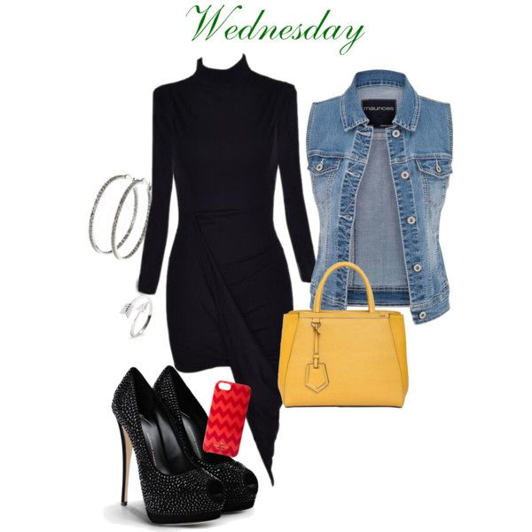 Dress:  societyofchic.com,  Vest: Maurices, Pumps: Giuseppe Zanotti, Bag:  Fendi , Hoop Earrings:  Nyla Star , Ring: Eve's Addiction, iPhone Case: Couture. Zappos.com