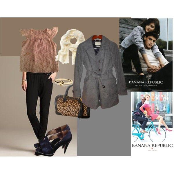 All Items by Banana Republic: 100% Silk Top, Grey Wool Coat, Slim Fit Pants, Sandals, Leopard Print Leather Handbag, Knot Bracelet, Cotton/Modal Scarf.