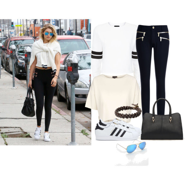 Tee: Topshop, Sweater: Newlook, Pants: Michael Michael Kors, Sneakers: Adiddas, Tote: Stylemoi, Bracelet: Mango, Sunglasses: Ray-Ban