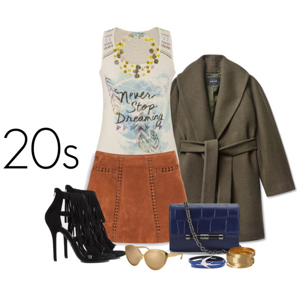 TOP: MAURICES, COAT: ARTIZIA, SKIRT: MANGO, SHOES: SHOPAKIRA, BAG: DIANE VON FRUSTENBERG, NECKLACE: ECLETCTICA VINTAGE, BANGLES: MONKI, WRAP BRACELET: MCQ, SUNGLASSES: LINDA FARROW