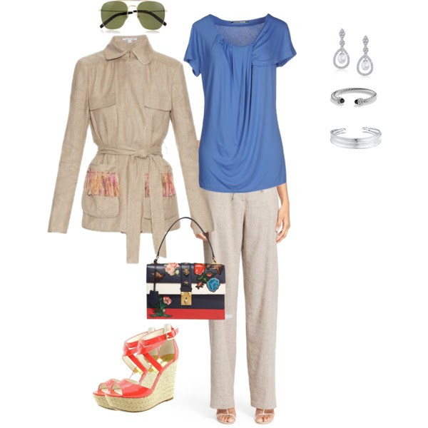 Top: European Culture (old) similar concept  here , Jacket:  Diane Von Furstenberg , Pants:   Diane Von Furstenberg , Shoes:  Michael Micahel Kors , Bag: Gucci (sold out), Earrings: Blink Jewelry, or these from  Emerald Park Jewelry , Bracelets:  David Yurman  and  Belk , Sunglasses:  Saint Laurent