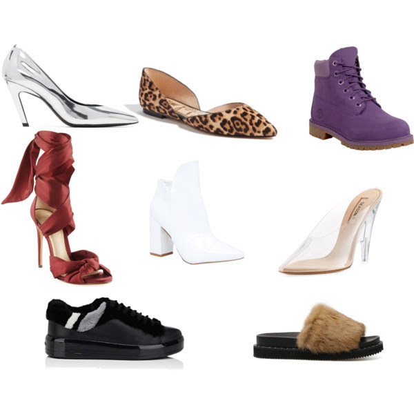 From the Top Left:  Balenciaga ,  Sam Edelman ,  Timberland ,  Alexandre Birman ,  Dollskill ,  Yeezy Sold Out ,  Prada ,  Brown 37 .