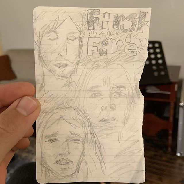 Somebody drew us at our last show. I really love this. I never got her name or Instagram, but thank you so much and god bless you. :)
