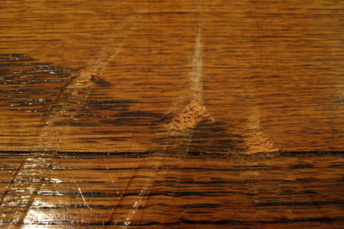 A seriously scratched floor
