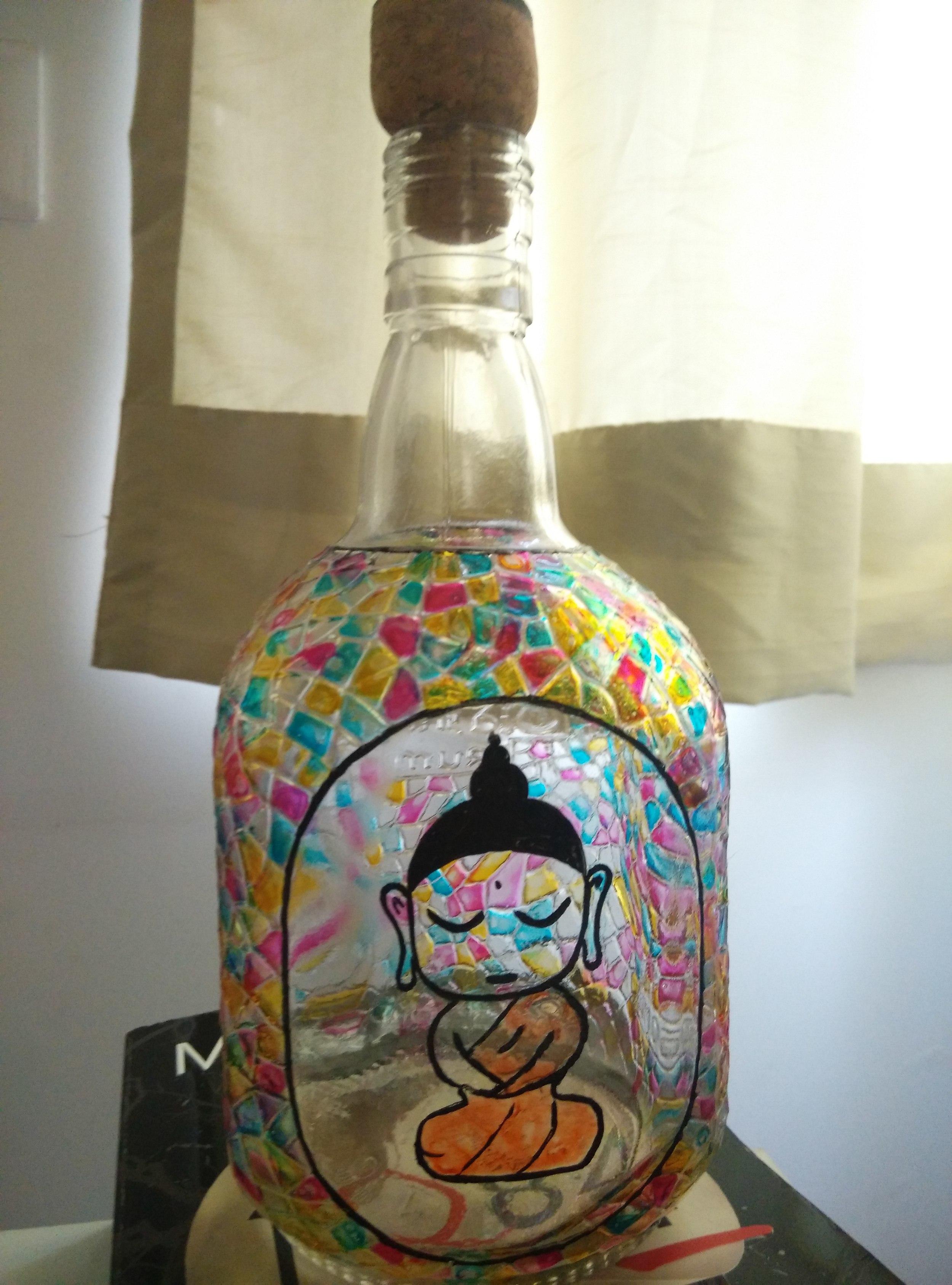 Little Buddha on an Old Monk bottle -Not my work