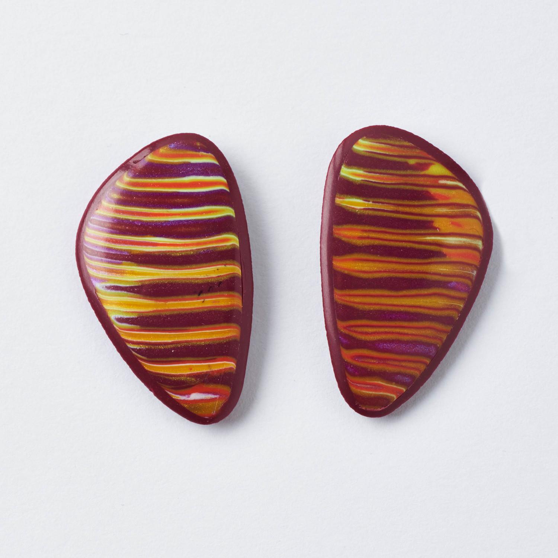 Melanie Muir Maroon Ripple Drops Earrings.jpg