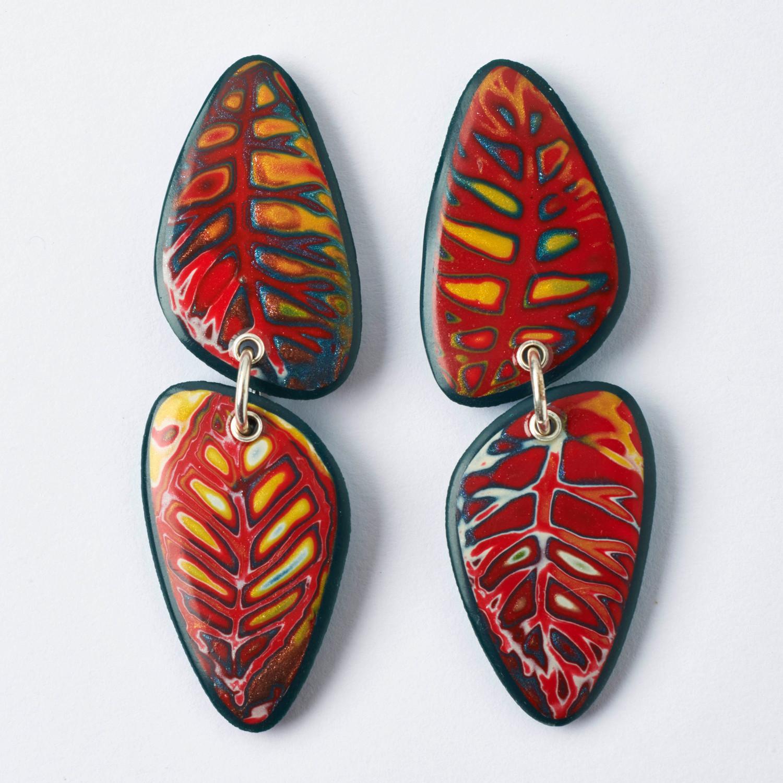 Melanie Muir Tomato Red Leaves Earrings.jpg