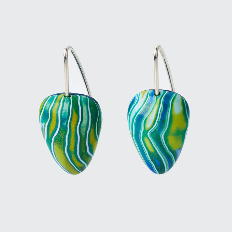 Melanie Muir Teal Chartreuse Ripples Earrings.jpg
