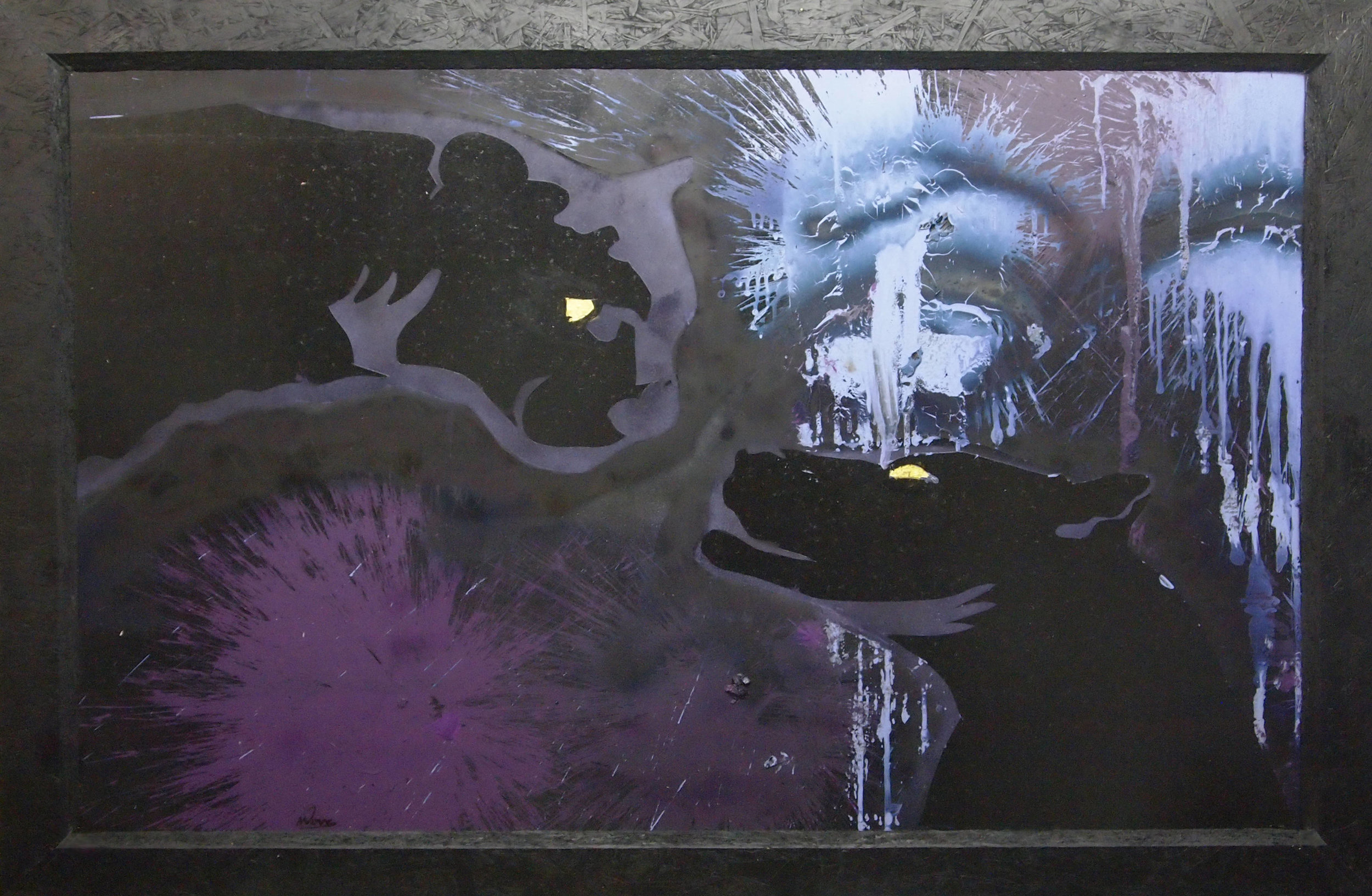 Two Panthers At Night. Mixed media applied with pyrotechnical missile launcher, smoke grenade and 24k gold leaf.JPG