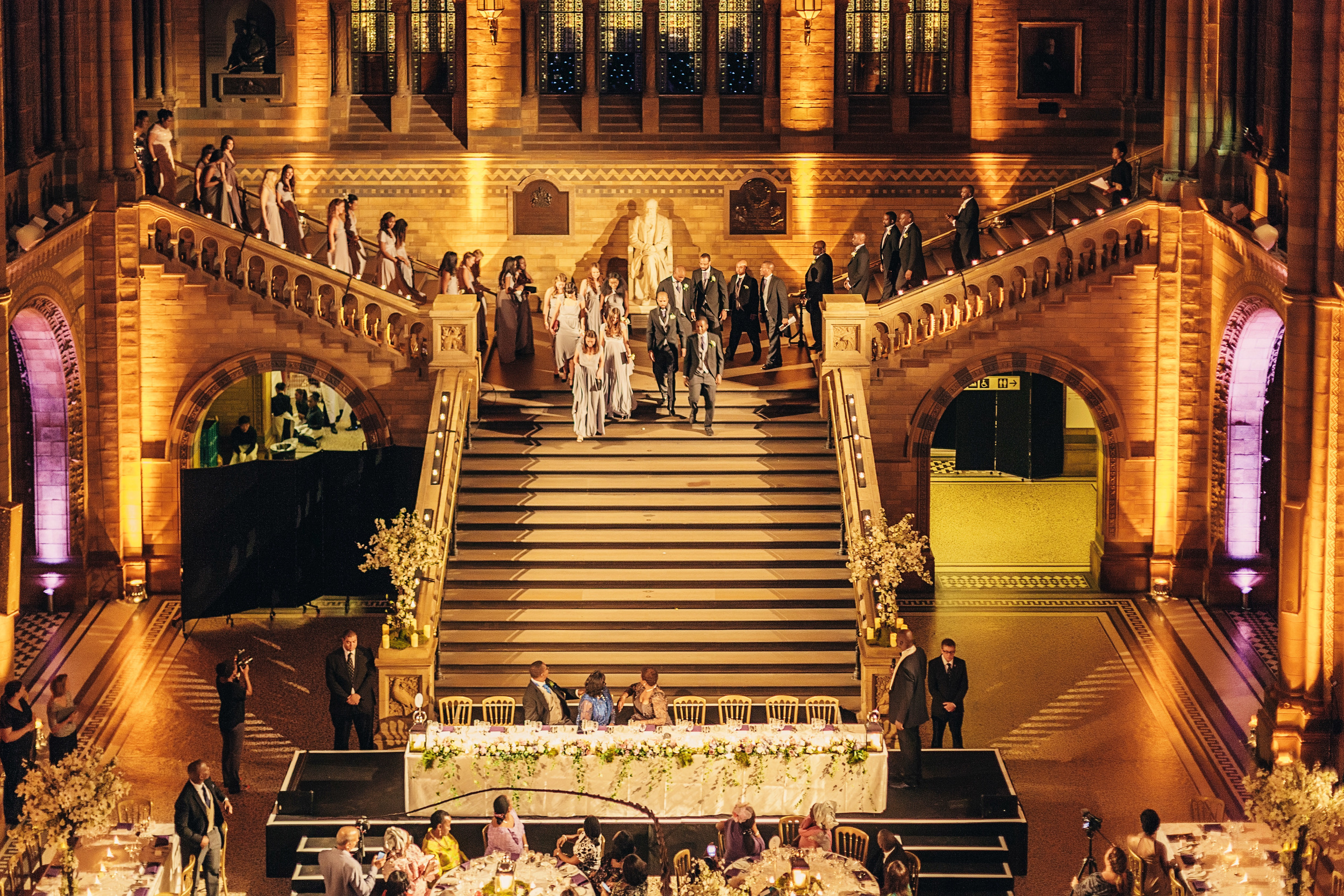 Wedding Videography Still - The wedding party arrives at the Natural History Museum