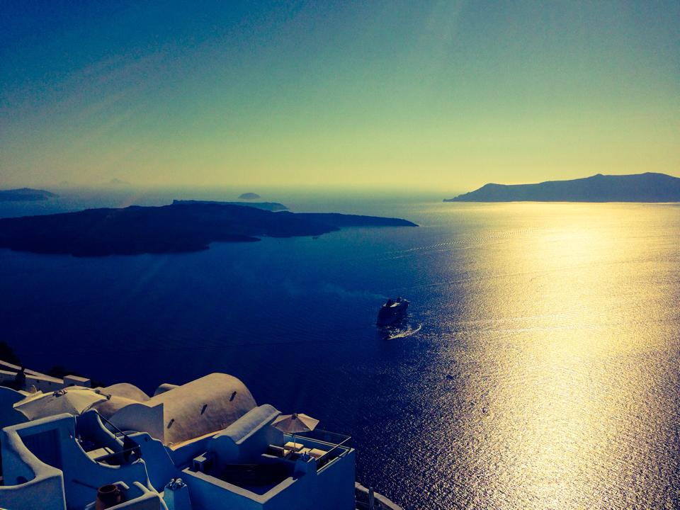 Wedding Videography Still - Santorini Caldera
