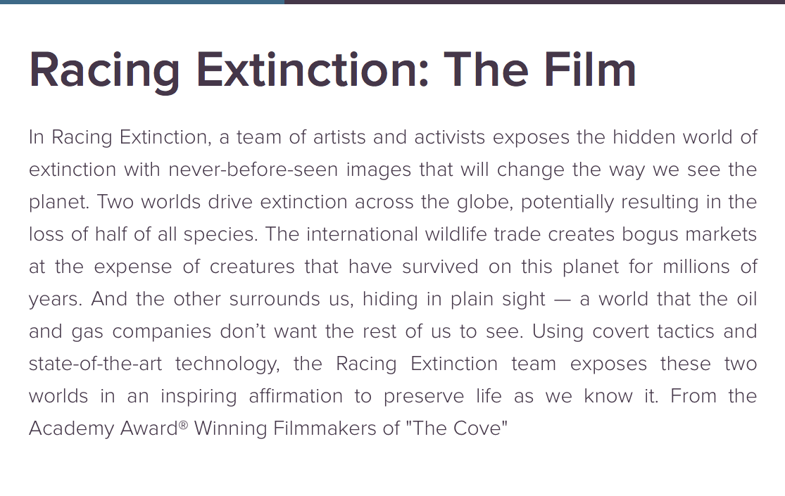 Screen Grab_Racing Extinction_about the film