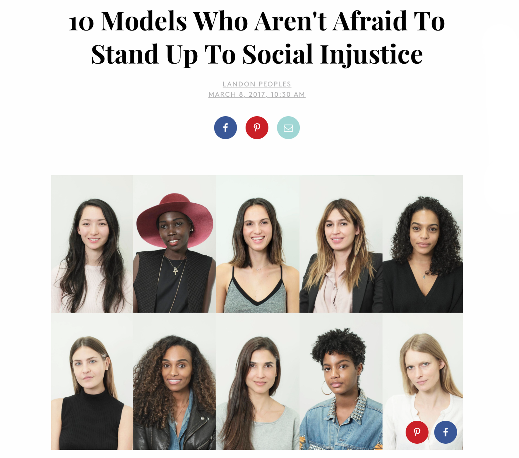 Refinery 29 covers 10 model activists; March 2017.
