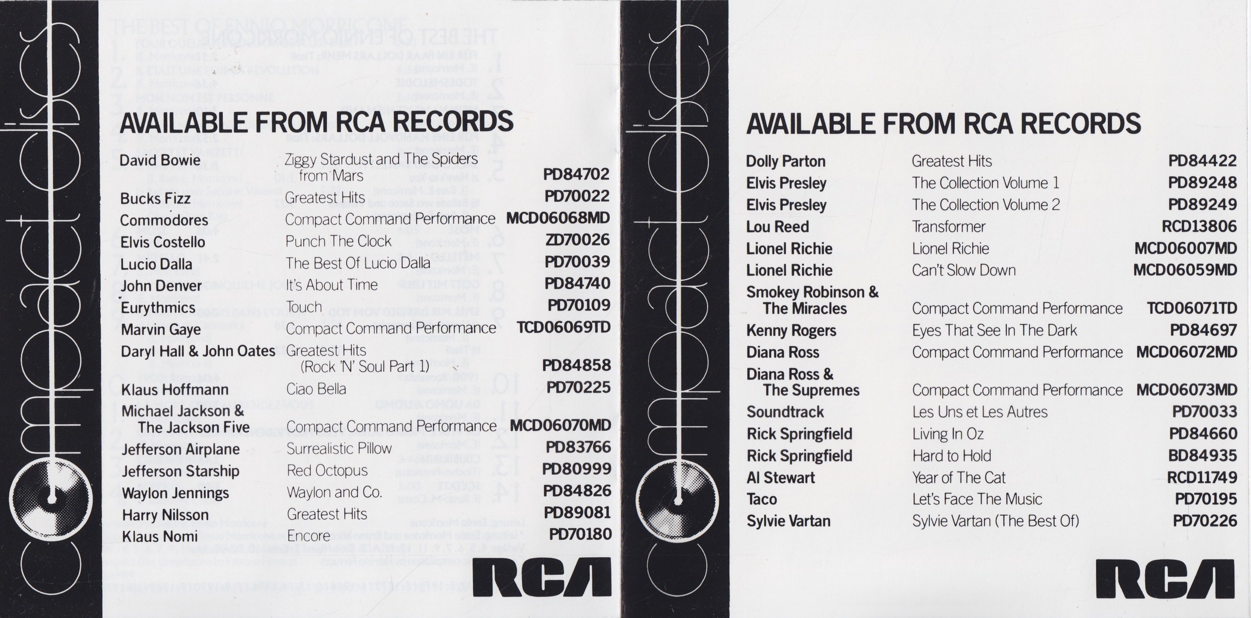 Typical RCA interior booklet pages.  If you like Kenny Rogers, you're sure to dig this Klaus Nomi CD!