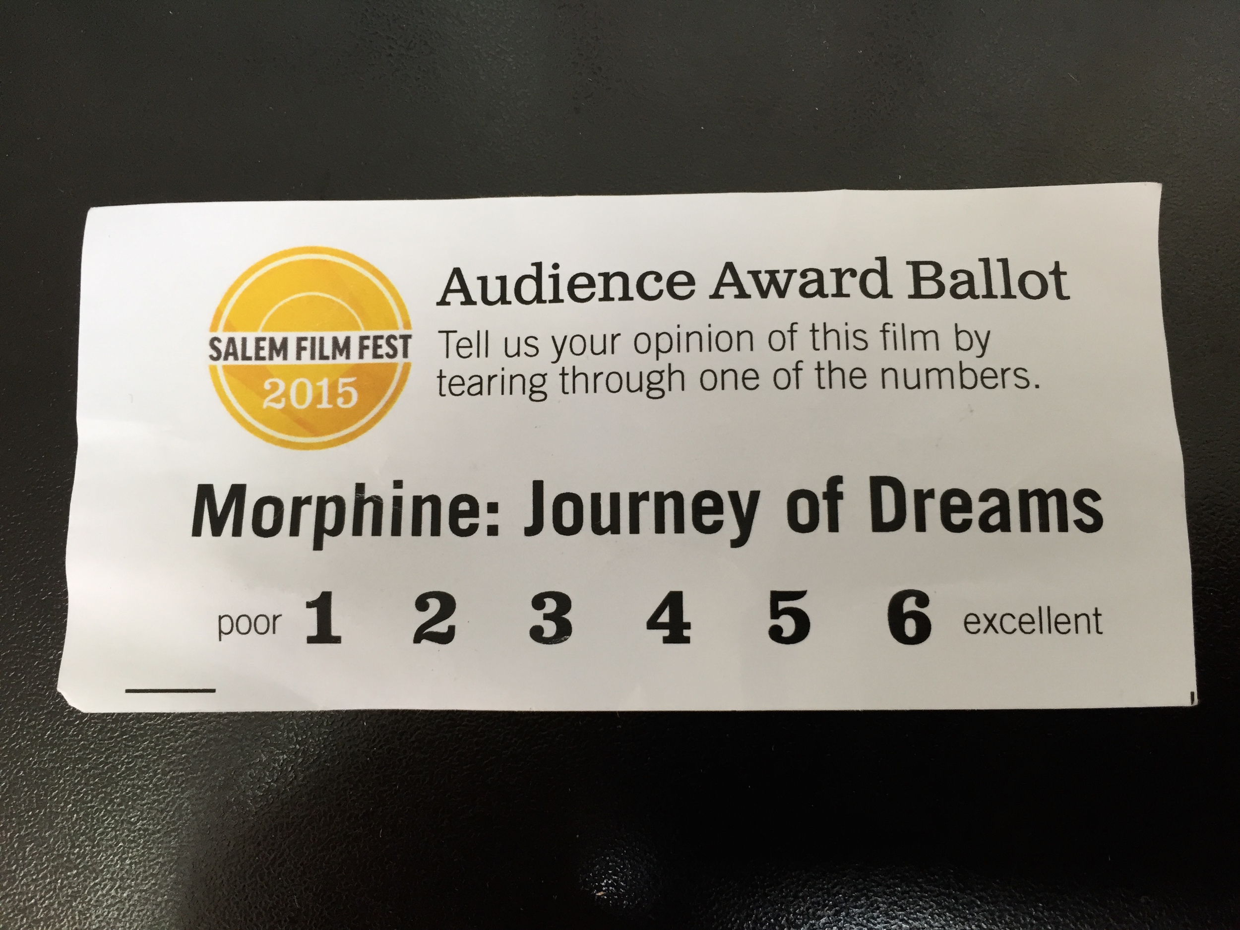 Unfortunately this ticket / ballot was required to get int the Vapors Of Morphine gig afterwards, so they probably didn't get a lot of responses. I'd give it a 5.