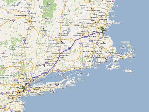 This is NOT the route I'd take (avoid 95 at all costs, if you take it you have to drive through..... Bridgeport, CT.