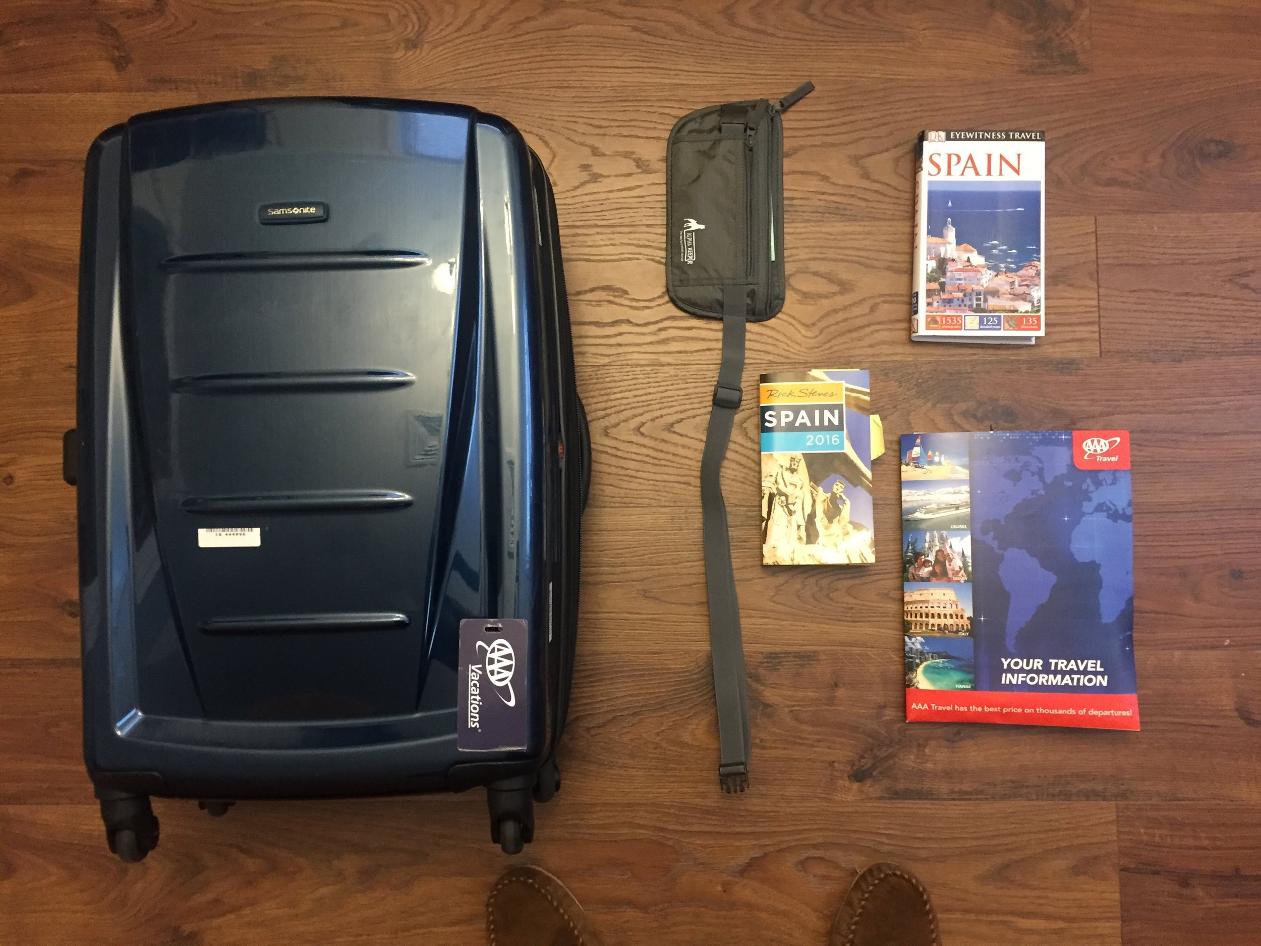 AAA travel gear. Shiny suitcase. Travel books. Fanny pack to protect valuables (never used).