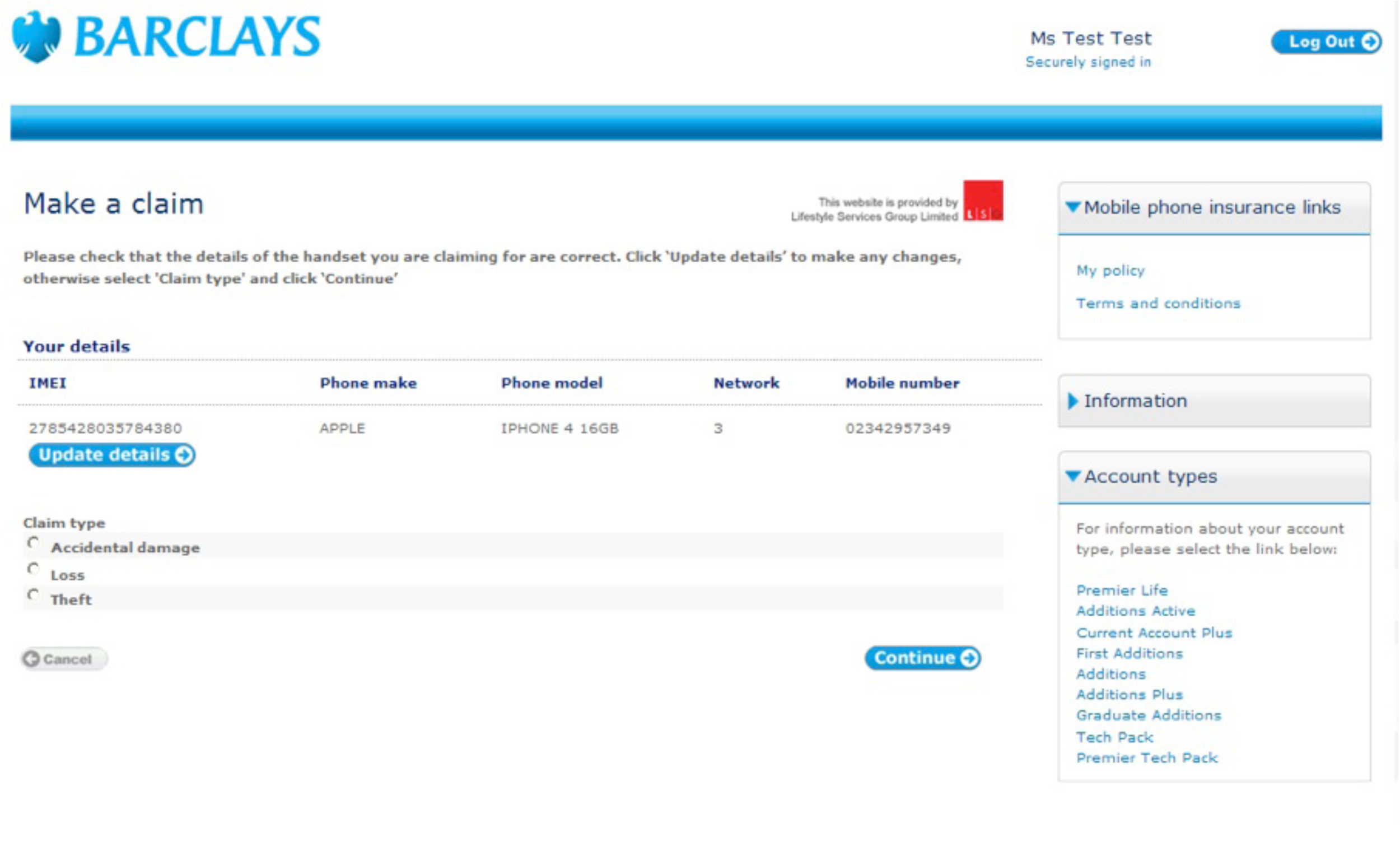 Barclays mobile insurance site