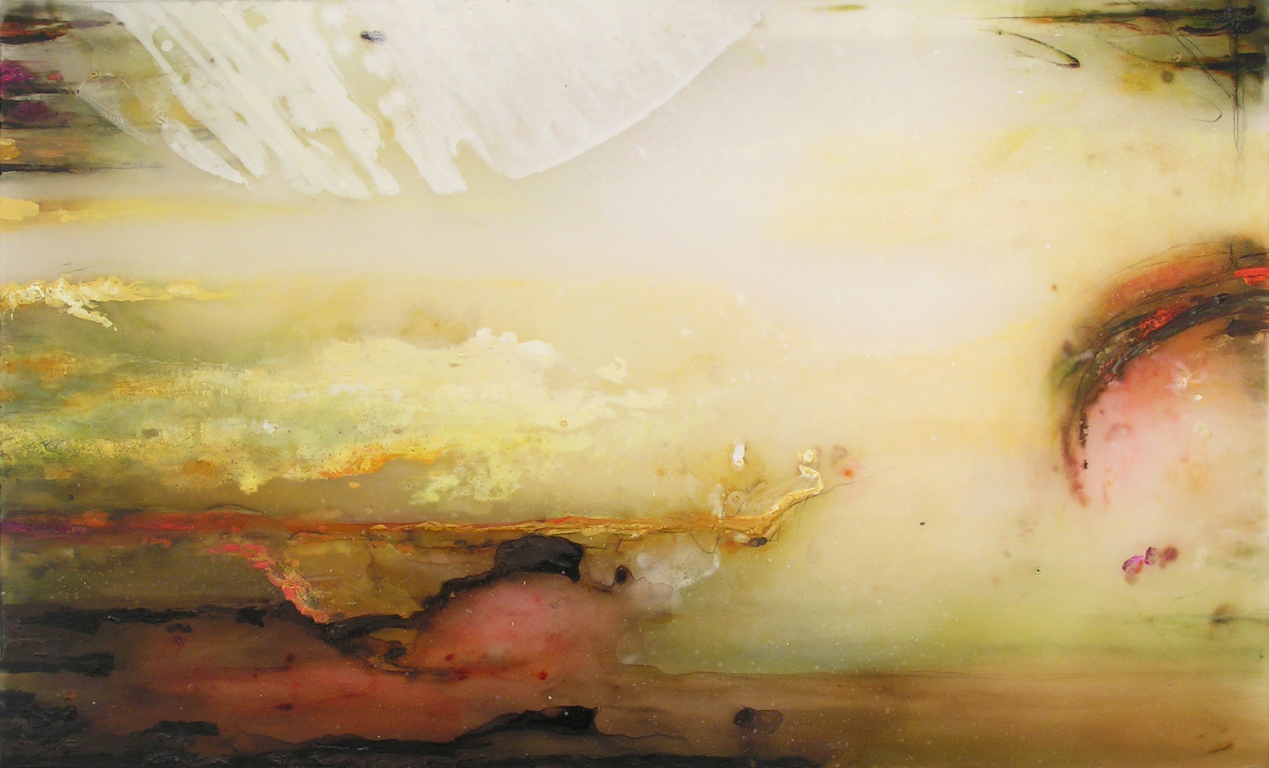 Dip of an Uncertain Orb , 2008  Oil paint, oil bar, acrylic, and prismacolor on plexiglas 26 x 39 x 1 inches
