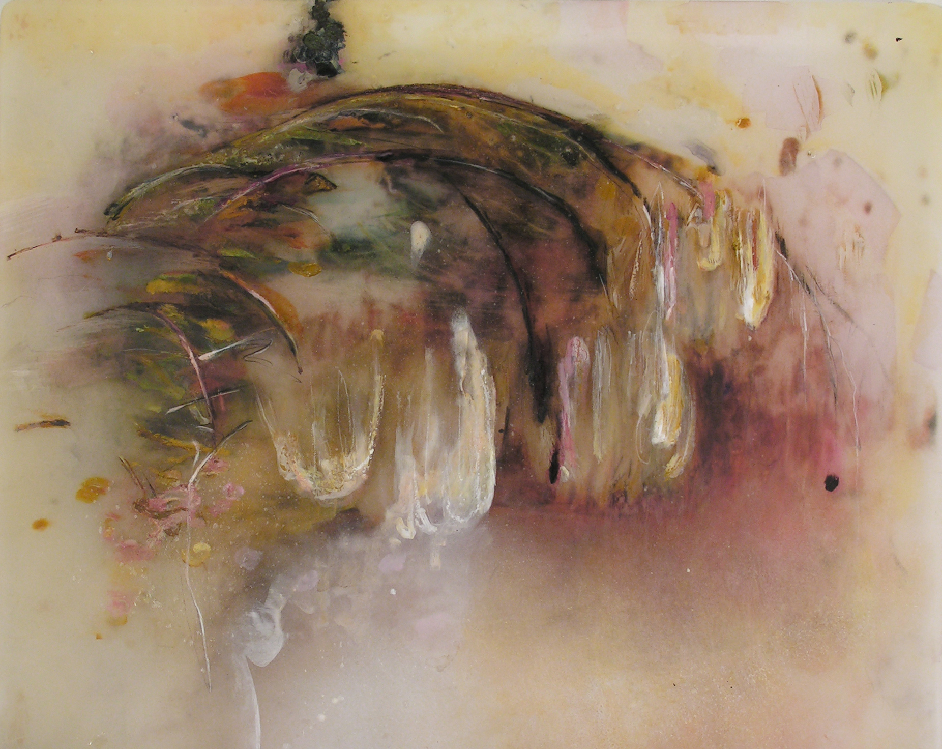 Mid Russet,  2009  Oil paint, oil bar, acrylic, and prismacolor on plexi 26 x 31 x 1 inches
