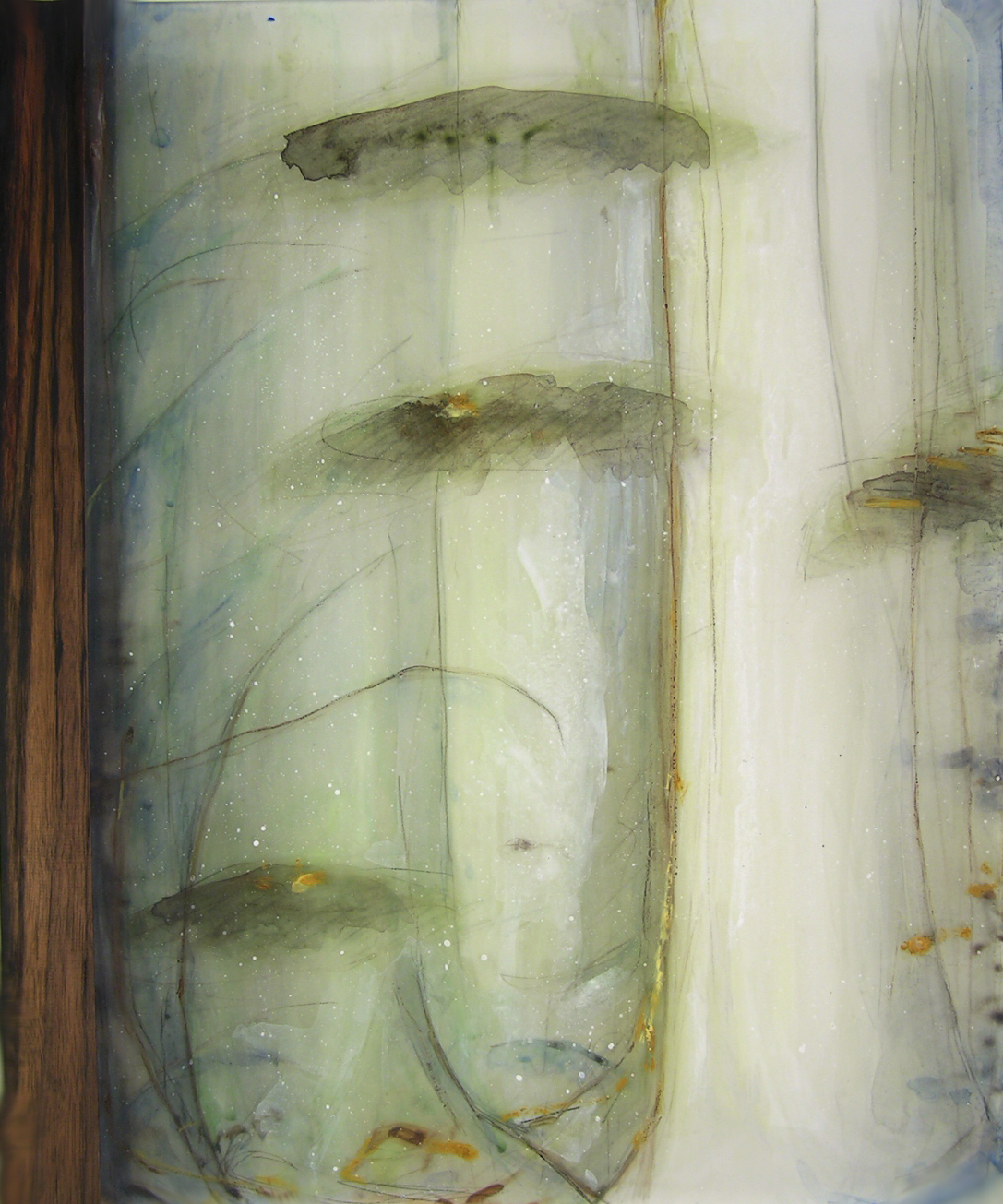 Aerial Passage , 2005  Oil paint, oil bar, acrylic, and prismacolor on plexi, wood 28 x 22 x 1 inches
