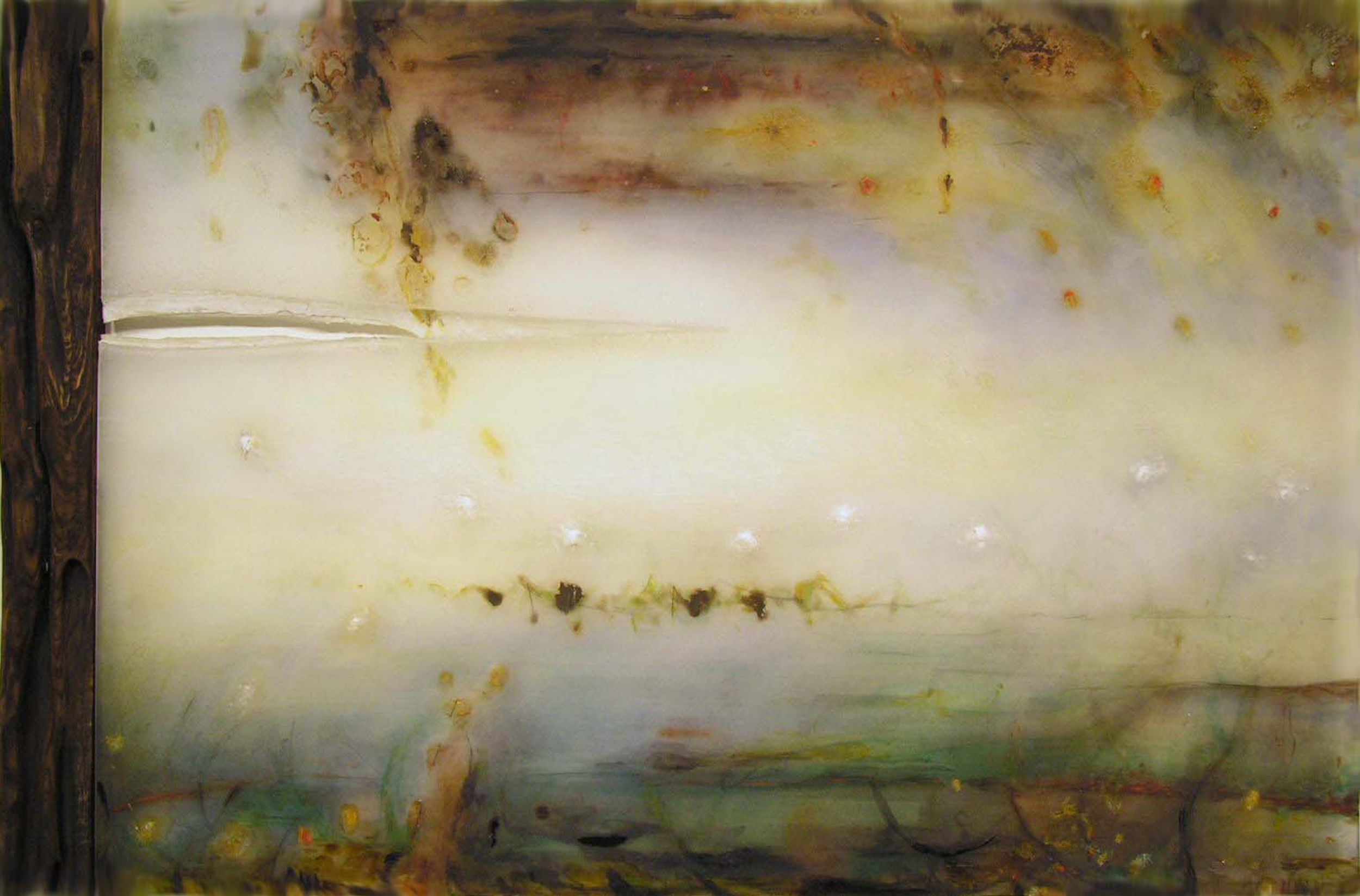Water Cleaves, Rent of Light , 2005  Oil paint, oil bar, acrylic, and prismacolor on plexi, wood 37 x 29 x 1 inches