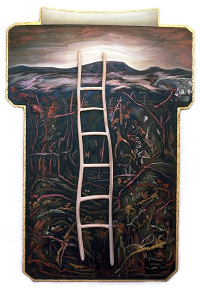 Ascent,  1986  Oil paint, pumice, oil pastel, poplar 60 x 42 x 3 inches