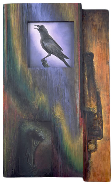 Evermore,  1994  Oil paint, pumice, oil pastel, poplar, museum board 48 x 24 x 3 inches