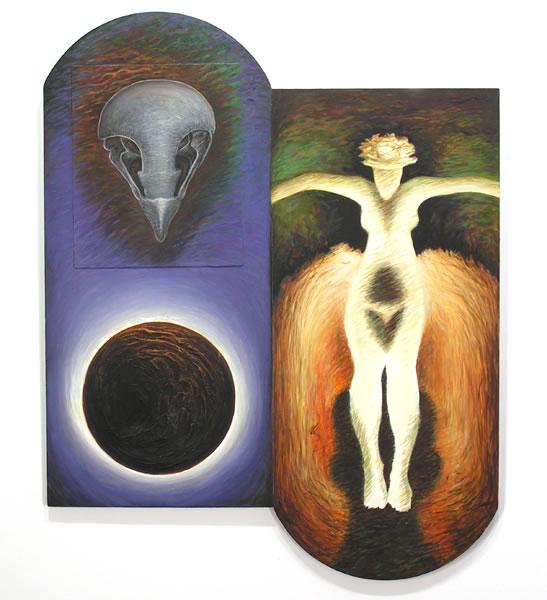 Inherit the Earth,  1995  Oil paint, pumice, oil pastel, poplar 30.5 x 24.5 x 1 inches