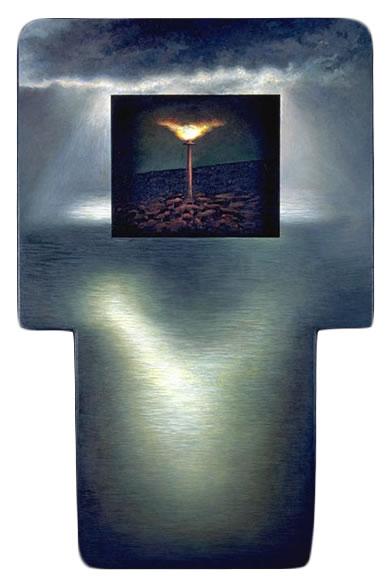 Terra Sanctus,  1994  Oil paint, pumice, oil pastel, poplar 60 x 42 x 3 inches